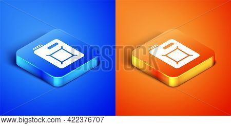 Isometric Canister For Motor Machine Oil Icon Isolated On Blue And Orange Background. Oil Gallon. Oi