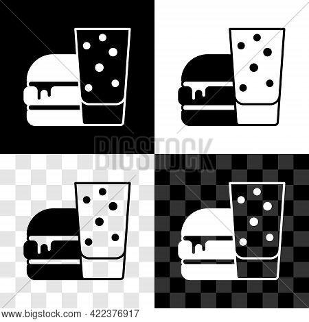 Set Burger Icon Isolated On Black And White, Transparent Background. Hamburger Icon. Cheeseburger Sa