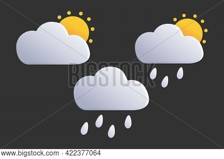 Raindrops Are Falling From The Cloudy Sky. Rain Or Weather Icons. Set Of Clouds. Vector Graphics