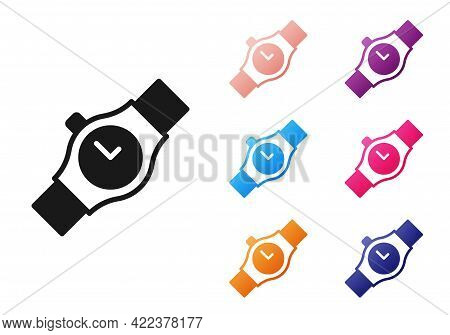 Black Wrist Watch Icon Isolated On White Background. Wristwatch Icon. Set Icons Colorful. Vector
