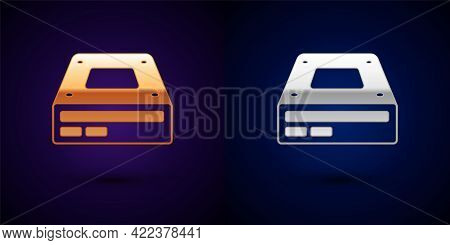 Gold And Silver Optical Disc Drive Icon Isolated On Black Background. Cd Dvd Laptop Tray Drive For R