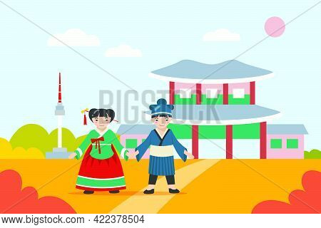 Asian Boy And Girl In Traditional Clothes Holding Hands. Cartoon Korean Characters Wearing Ancient C