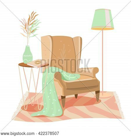 Cozy Room Interior In Pastel Colors With Armchair. Modern Vintage Armchair With Plaid, Table, Book,