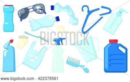 Bright Plastic Waste Flat Pictures Collection. Cartoon Empty Bottles, Broken Objects, Recyclable Tra