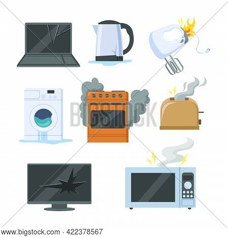 Broken Electrical Appliances Vector Illustrations Set. Damaged Equipment And Kitchen Devices, Microw