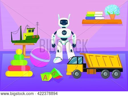 Collection Of Toys For Children In Nursery Room. Toy Construction Truck And Boat, Robot, Ball, Pyram