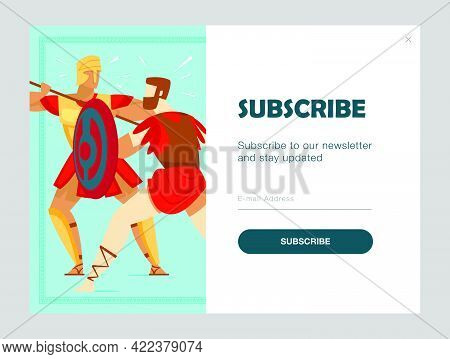 Email Subscription Design With Ancient Warriors Fighting. Online Newsletter Template With Armed Glad