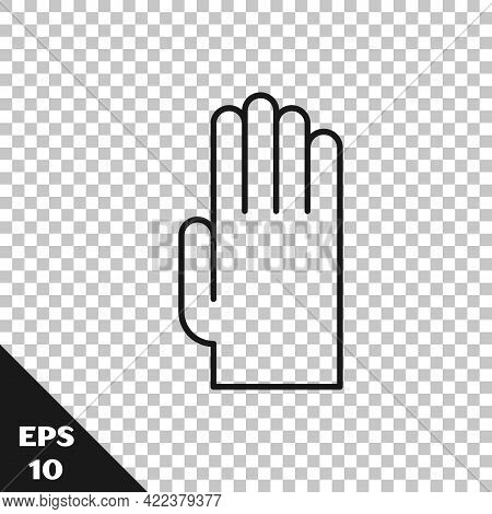 Black Line Rubber Gloves Icon Isolated On Transparent Background. Latex Hand Protection Sign. Housew