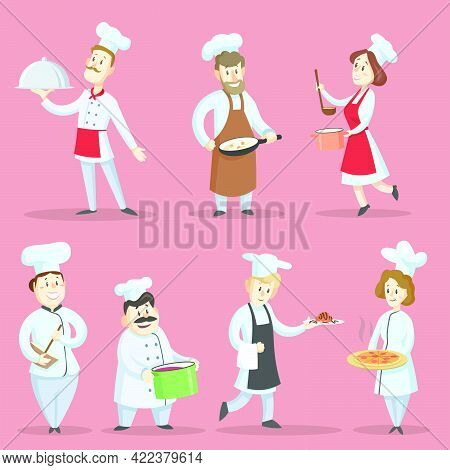 Professional Chefs Cooking Food Vector Illustrations Set. Cartoon Characters In Hats And Aprons Maki