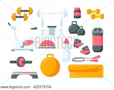Set Of Cartoon Fitness Equipment Flat Vector Illustration. Collection Of Different Gym Exercisers As