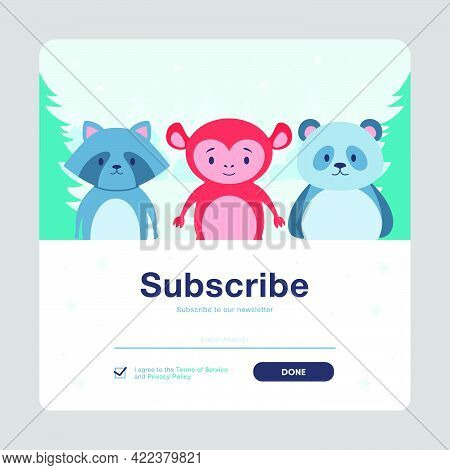 Subscribe Cartoon Vector Mailout Template With Animals. Online Newsletter With Cute Wild Animals And