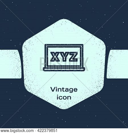 Grunge Line Xyz Coordinate System On Chalkboard Icon Isolated On Blue Background. Xyz Axis For Graph