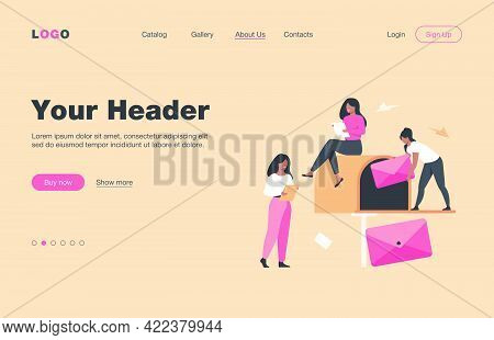 Tiny Women Getting Mail From Mailbox Flat Vector Illustration. Cartoon People Reading Newsletter Or
