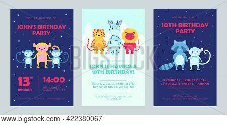Wild Animal Birthday Invitations Set Cartoon Vector Illustration. Cute Beasts Template For Birthday