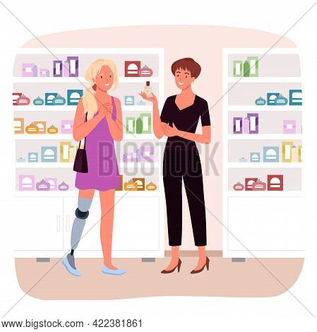 Disabled Girl With Leg Prosthesis Shopping, Handicapped Woman Buying Cosmetics In Shop