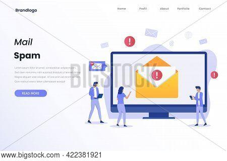 Mail Spam Illustration Concept Landing Page