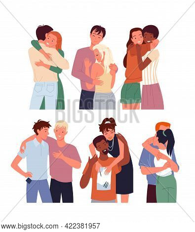 Cartoon Diverse Woman Man Character Standing Together, Young Couple Of Girlfriend And Boyfriend Hugg