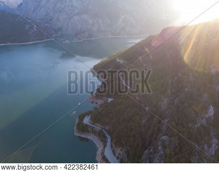 Coastline Of Oymapinar Lake, Mountain And Forest In Turkey - Green Canyon In Oymapinar Mount Area At