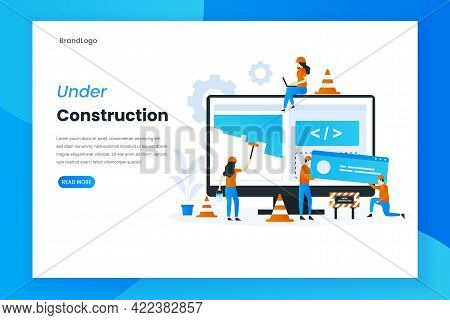 Flat Design Under Construction Landing Page Illustration