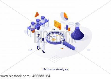 Concept With Scientists And Lab Equipment. Microbiology Service For Bacteria Analysis, Bacteriologic