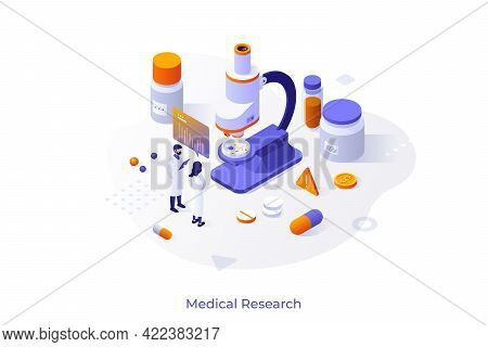 Concept With Researchers In Lab Coats, Microscope, Pills, Test Tubes. Medical Research, Scientific L