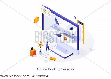 Conceptual Template With Man Ascending Stairs And Trying To Enter Computer Screen With Aircraft Insi