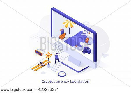 Conceptual Template With Man Ascending Stairs And Entering Computer Screen With Map Inside. Isometri