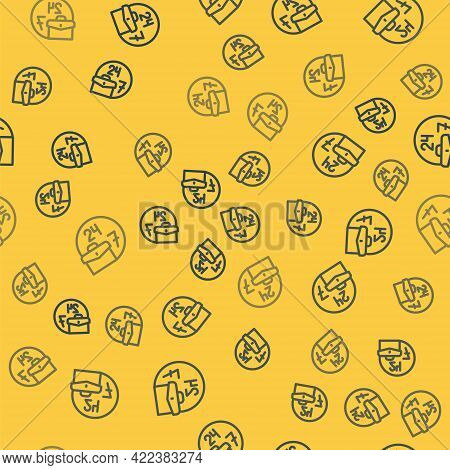 Blue Line Always Busy Icon Isolated Seamless Pattern On Yellow Background. Vector