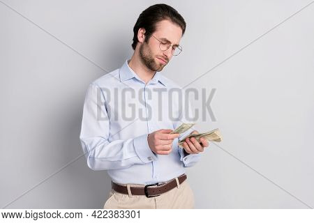 Photo Portrait Businessman Wearing Formalwear Counting Money Salary Profit Isolated Grey Color Backg