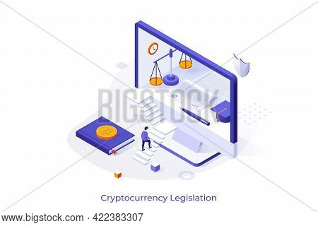 Conceptual Template With Man Ascending Stairs And Trying To Enter Computer Display. Concept Of Crypt