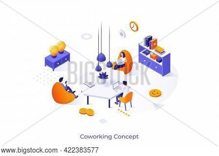 Conceptual Template With Group Of Freelance Workers Sitting In Comfy Armchairs Around Desk And Worki