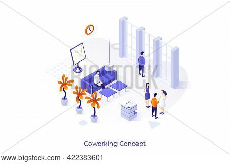 Conceptual Template With People Working On Computer And Talking During Business Meeting Or Meetup. C