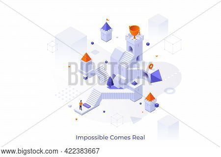 Conceptual Template With Man Standing In Front Of Castle With Stairs And Goblet On Tower. Concept Of