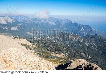 Panoramic View From The Peak Of Tahtali, A Mountain Near Kemer, A Seaside Resort On The Turkish Rivi
