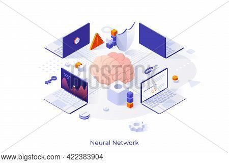 Conceptual Template With Brain Surrounded By Laptop Computers. Scene Of Artificial Neural Network Or