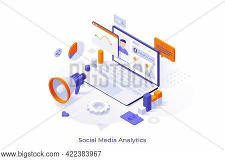 Conceptual Template With Laptop Computer, Charts, Internet Indicators And Megaphone. Online Tool Or