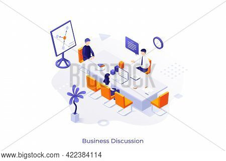 Conceptual Template With Group Of Office Workers Sitting At Table And Talking. Scene Of Corporate Me