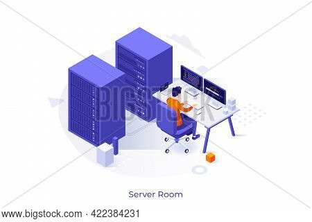 Conceptual Template With Server Racks And Operation Engineer Working At Computer. Scene For Hardware