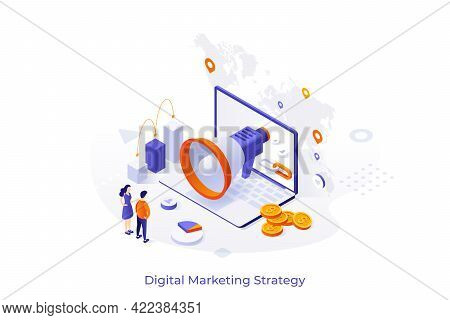 Conceptual Template With People, Giant Megaphone, Laptop And Coins. Scene For Digital Marketing Stra