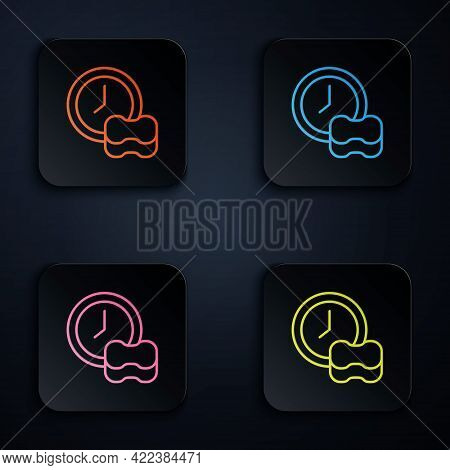 Color Neon Line Washing Dishes Icon Isolated On Black Background. Cleaning Dishes Icon. Dishwasher S
