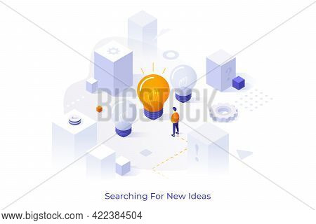 Conceptual Template With Person Standing In Front Of Giant Light Bulb. Scene For Search For New Idea
