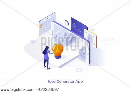 Conceptual Template With Woman Standing At Smartphone And Conveyor Belt With Light Bulb. Mobile Appl
