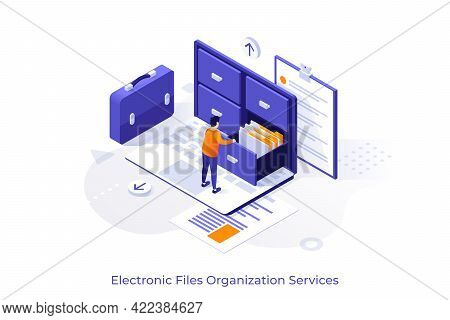 Conceptual Template With Man Standing On Laptop Computer And Opening Drawer Of Storage Cabinet Full