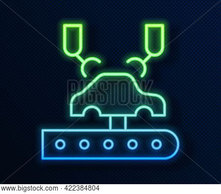 Glowing Neon Line Industrial Machine Robotic Robot Arm Hand On Car Factory Icon Isolated On Blue Bac