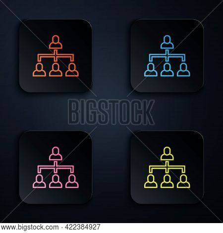 Color Neon Line Business Hierarchy Organogram Chart Infographics Icon Isolated On Black Background.