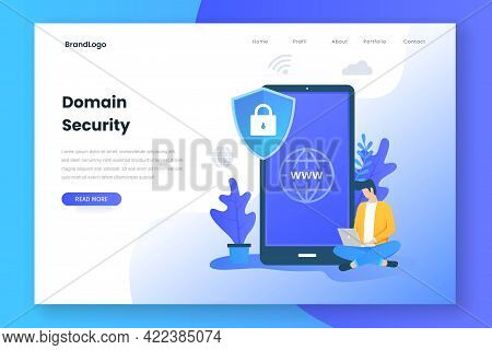 Landing Page Concept Of Domain Security
