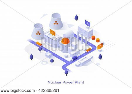 Conceptual Template With Nuclear Power Plant, Cooling Towers, Factory Buildings. Scene For Electric