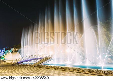 Batumi, Adjara, Georgia. Singing And Dancing Fountains Is Local Landmark At Boulevard Fountains. Nig