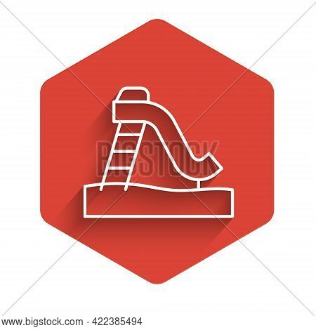 White Line Kid Slide Icon Isolated With Long Shadow. Childrens Slide. Red Hexagon Button. Vector