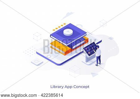 Conceptual Template With Man Standing At Control Panel And Pile Of Books On Smartphone. Scene For Mo